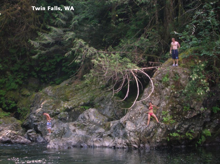 WHEN CURRENTS ARE LOW LATE SUMMER IS THE TIME TO SWIM HERE. STATE PARK WEB  SITE , MAP STATE PARK AND TWIN FALLS TRAILS .